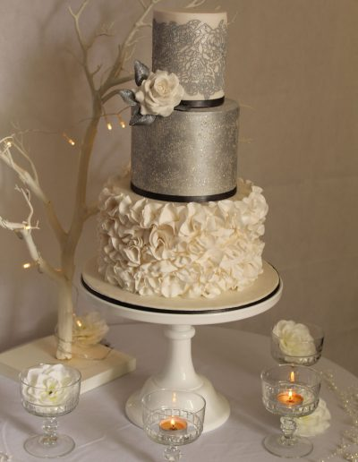 Silver ruffle wedding cake