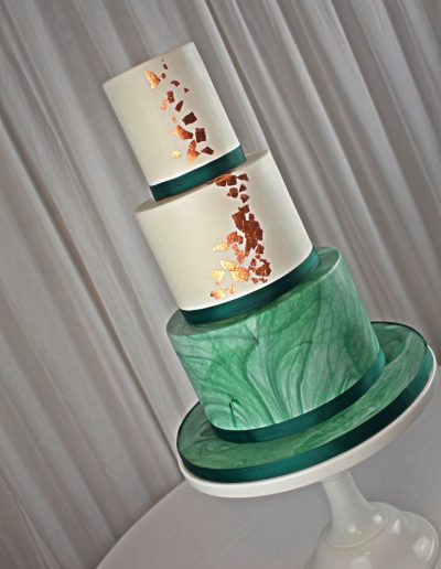 Copper green marble wedding cake